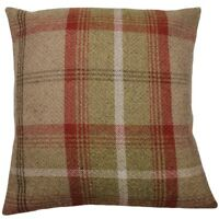 "Porter & Stone Balmoral Tartan Check Cushion Cover Rust Red Green 16"" x 16"""