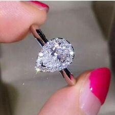 Diamond Halo Engagement Ring Certified 2.50 Ct Pear Shape VVS1/D 14K White Gold