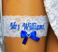 BRIDAL GARTER. PERSONALISED WEDDING GARTER. IVORY GARTER. SOMETHING BLUE GARTER.