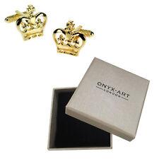 Da Uomo Oro Corona Reale Gemelli & Scatola Regalo da Onyx Art