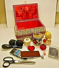 VINTAGE WICKER BASKET SEWING BOX W/ MUSIC BOX, NOTIONS-CUTE TAPE MEASURE GNOME