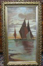 Gemälde Ölgemälde Bild Art Deco Schiff Segeln Meer See Friedrich 1906