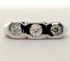 Mens diamond wedding band ring 14K white gold 3 round old mine cut .65CT size 11