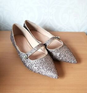 Marks and Spencer sequin womens flat pointed toe shoes UK 6 EU 39.5 BNWOT