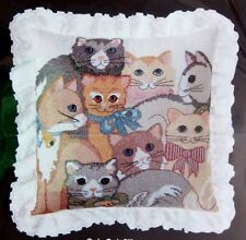 "Vintage Golden Bee Stamped Cross Stitch Pillow Kit CATS CATS  14""x 14"""