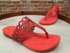 Liz Claiborne NY Orange Coral Leather Cut-out Design Allure Thong Sandal 7 New