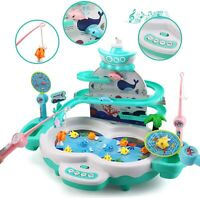 Kids Fishing Game Toys with Slideway Electronic Fishing Set with Magnetic Pond