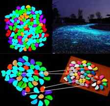 10 X Colorful Fish Tank Aquarium Glow In The Dark Stones Pebbles Rock New