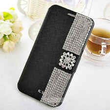Fashion lady Pretty Bling Crystal Stand Wallet Case Cover For Samsung Phone