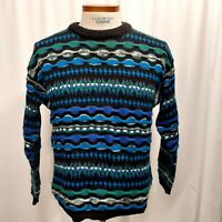 Vintage Concrete Mix Mens Sweater 90's Hip Hop 3d Coogi Style Medium Geometric