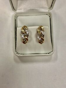 18k Cuban Link J-Hoop Earrings 1/4 ctw VS Diamonds Yellow & White Two Tone Gold