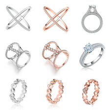 Womens Gift Eternity Infinity Rings Wedding Band Clear Cubic Zironia Cross Rings