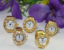 5pcs mixed styles of rhinestone golden elastic finger ring watches #22368