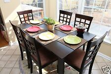 7pc Espresso Dining Room Kitchen Set Table & 6 Wheat Waffle Back Chairs 7 piece