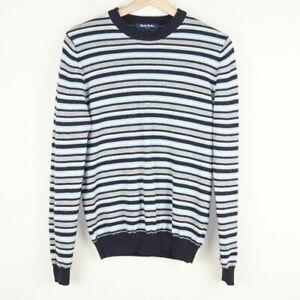 Brooks Brothers Striped 100% Wool Crew Neck Blue Gray Sweater Boys Sz L