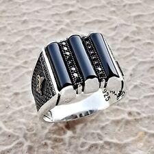 Black Onyx Gemstone Silver Men Ring Custom Turkish Imperial Signet Male Jewelry