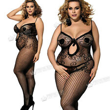 Plus+ UK 16-28 Catsuit Bodystocking Lingerie Fishnet Peep Bow Tights Queen 25B
