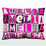 Personalized Pillow featuring the name AMELIA in photos of PINK sign letters