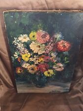 Listed Antique Athenia Hastings Early 19th C Painting O/C Floral Still Life