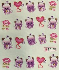 Nail Art Water Decals Purple Kitten Kiss Me Hearts Valentines Day Love SY1173