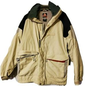 Burton Jacket Mens Small Black Ski Snowboard tan/beige with black, grey and red.