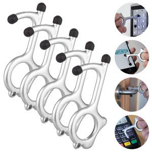 Hygienie Contactless Keychain Door Opener, Button Presser and Hook (5-Pack)