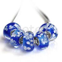 5pcs Murano Lampwork Glass Beads Handmade European Bracelet 14x7.5mm LB0156