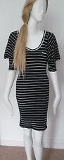 ATMOSPHERE - BLUE STRIPED 3/4 SLEEVED C-NECK DRESS SIZE 8 -97% VISCOSE, UN LINED