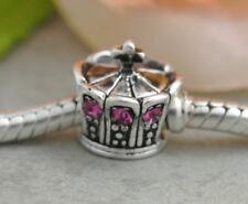 HANDMADE SILVER EUROPEAN Charm Bead for Bracelet H29 KING PRINCESS QUEEN CROWN