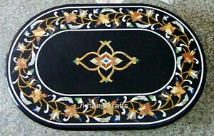 36 x 48 Inches Marble Dinette Table Top Hand Made Kitchen Table with Floral Work