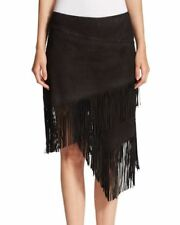 Polo Ralph Lauren Black Leather Fringe Skirt Size 2 $1298