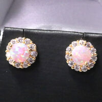 2 Ct Round Pink Fire Australian Opal Earrings 14K Yellow Gold