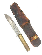 """Theater-made 9"""" handmade trench knife with brass handle and leather sheath"""