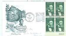 US 1113 FDC Lincoln Plate block 26245 LR 1959