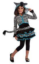 Girls Zebra Hoodie Costume Tutu Animal Print Dress Child Size Medium 8-10
