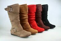 NEW Women's Faux Leather Suede Flat  Heel Zip Mid Calf Boots Shoes Size 5 - 10