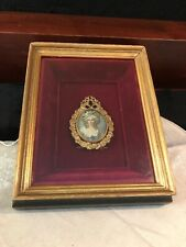 ANTIQUE FRENCH BRONZE FRAME & MINIATURE PORTRAIT IN A WOODEN SHADOWBOX-335