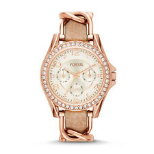 FOSSIL ES3466 Riley Multifunction Rose Gold Chain Sand Leather 38mm Ladies Watch