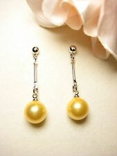 Earring Gold Plated Studs 10 mm Shell Pearls Pearls Jewelry Yellow