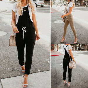 Women's Strappy Sleeveless Dungraee Jumpsuit Romper Overalls Skinny Pencil Pants