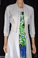 NEW VERSACE RESORT LOOK 16 SILK DRESS AND CROPPED LEATHER JACKET