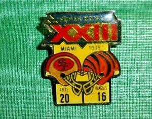 Vintage San Fran 49ers Cincinnati Bengals NFL Super Bowl XXIII Champs Pin 1989