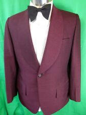 Fab Vintage 60s 70s Shimmery Grape Maroon Shot Fabric Dinner Tuxedo Jacket S