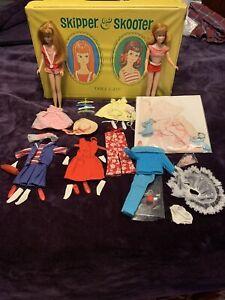 Barbie Vintage 1960's Mattel Skipper & Scooter Dolls,  Clothes & Double Case
