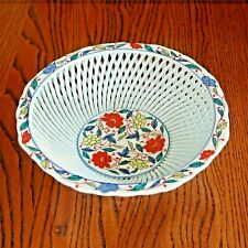 Neiman Marcus Floral Japanese Porcelain Lattice Style Bowl - circa 1950s