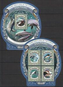 Maldives 2016 MNH Odd shape MS + SS,, Dolphins, Marine life