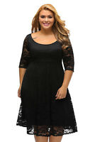 Classy Floral Lace Sleeved Fit and Flare Midi Dress Size 16-24 Black Or White