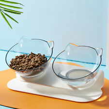 Km_ Pet Cat Dog Water Food Bowl Double/Single Bow with Raised Stand Feeder Bow