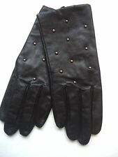 Ladies Women's Studded Genuine Leather Gloves, M,Black