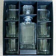CRYSTAL Glass Boxed 7 Piece Whisky Spirit Decanter & 6 Glasses Gift Set BNIB